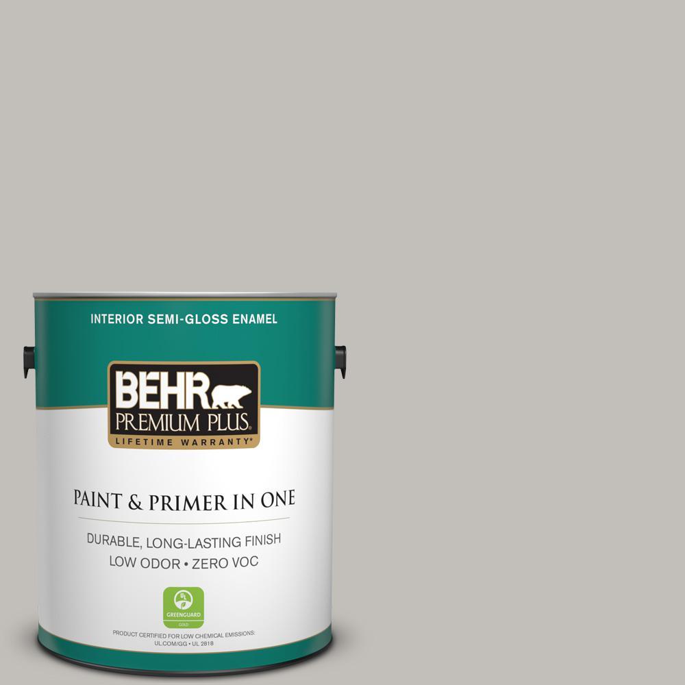 1 gal. #PPU18-10 Natural Gray Zero VOC Semi-Gloss Enamel Interior Paint