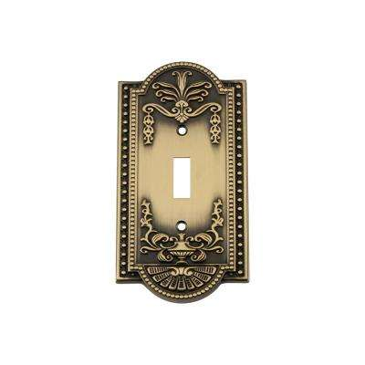 Meadows Switch Plate with Single Toggle in Antique Brass