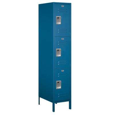 18-53000 Series 3 Compartments Triple Tier 18 In. W x 78 In. H x 21 In. D Metal Locker Unassembled in Blue