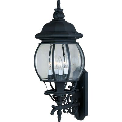 Crown Hill 4-Light Black Outdoor Wall Lantern Sconce