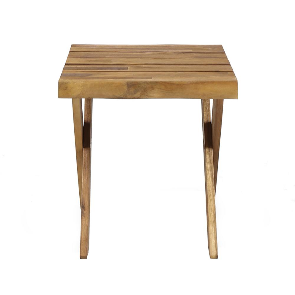 Noble House Eaglewood Teak Brown Square Wood Outdoor Side Table