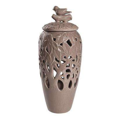 Ucello 5.5 in. Taupe Decorative Jar