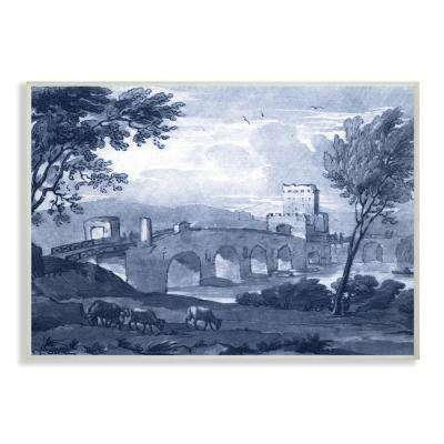 """13 in. x 19 in. """"Antique Architecture Blue Bridge Illustration"""" by Claude Lorrain Printed Wood Wall Art"""