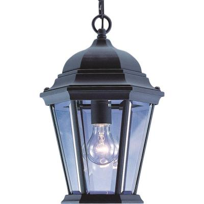 1-Light Indoor or Outdoor Black Aluminum Lamp / Lantern / Coach Light Hanging Pendant