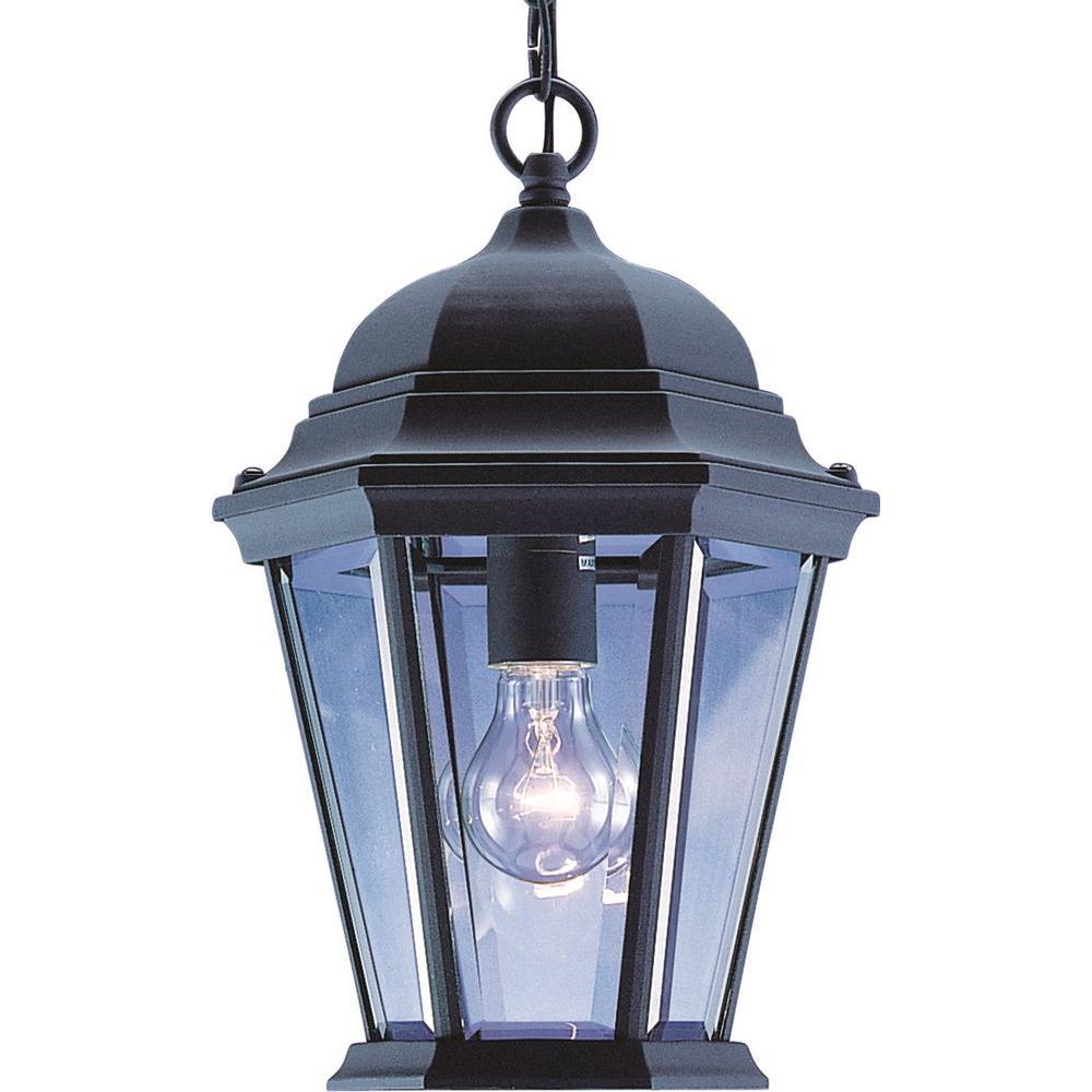 1-Light Indoor or Outdoor Black Aluminum Lamp / Lantern / Coach Light Hanging Pendant
