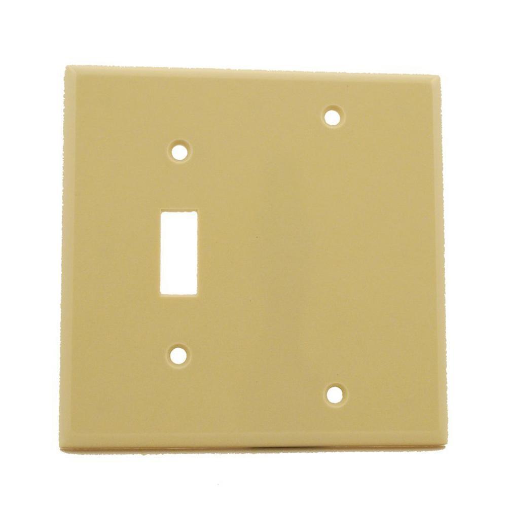Leviton 86008 2-Gang 1-Duplex 1-Blank Device Combination Wallplate Thermoset Box Mount Ivory Standard Size