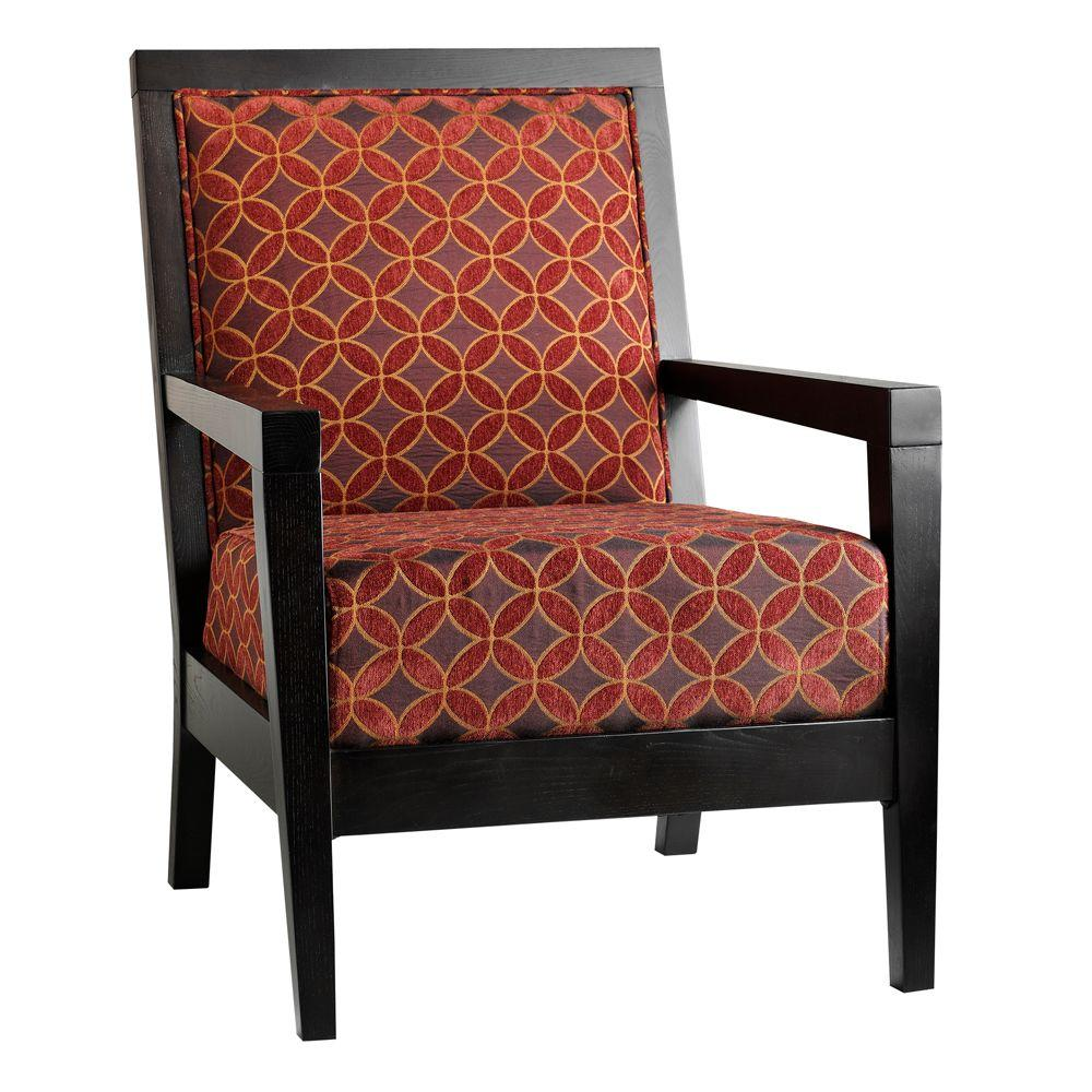 Home Decorators Collection Cade 28 in. W Arm Chair in Diamond Floral Plum and Orange