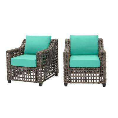 Briar Ridge Brown Wicker Outdoor Patio Deep Seating Lounge Chair with CushionGuard Seaglass Turquoise Cushions (2-Pack)