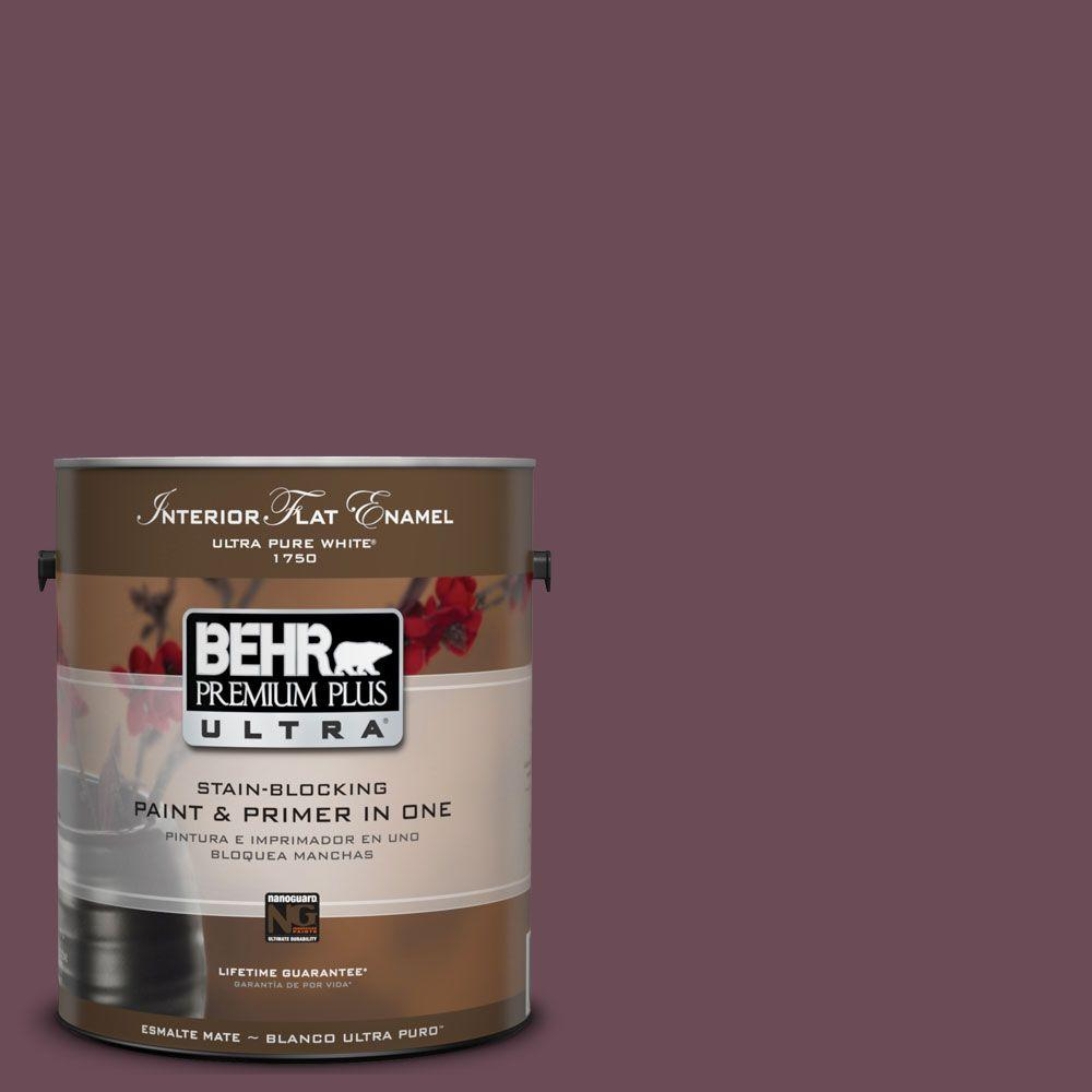 BEHR Premium Plus Ultra 1-gal. #UL100-22 Spiced Plum Interior Flat Enamel Paint-DISCONTINUED