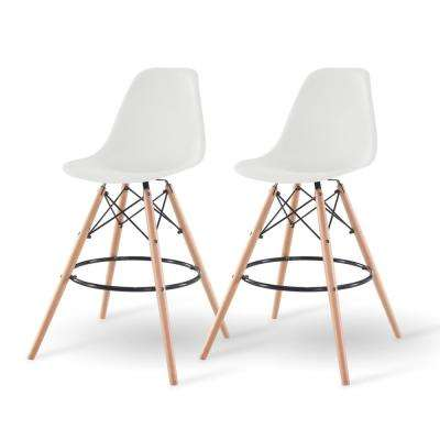 43 in. White Bar Stool (Set of 2)