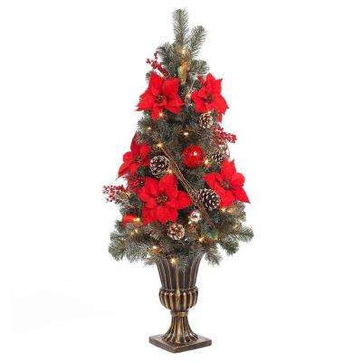 4 ft. Red Poinsettia and Twig Artificial Christmas Porch Tree with 50 UL Twinkle Lights