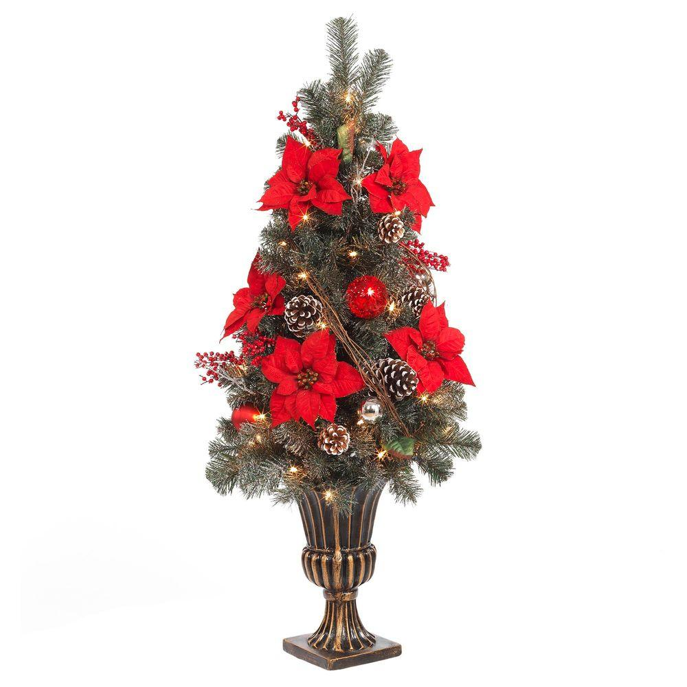 Red Poinsettia and Twig Artificial Christmas Porch Tree with 50 UL Twinkle Lights