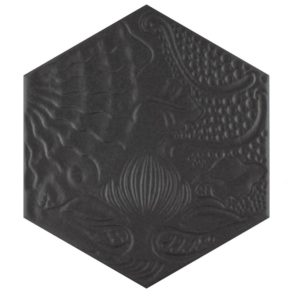 Merola Tile Gaudi Hex Black 8-5/8 in. x 9-7/8 in. Porcelain Floor and Wall Tile (11.56 sq. ft. / case)