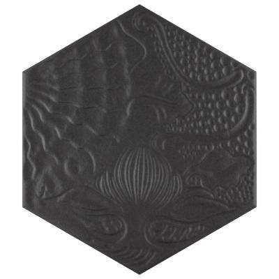 Gaudi Hex Black 8-5/8 in. x 9-7/8 in. Porcelain Floor and Wall Tile (11.56 sq. ft. / case)