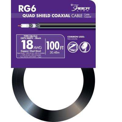 100 ft. 18 RG6 Quad Shield CU CATV CM/CL2 Coaxial Cable in Black