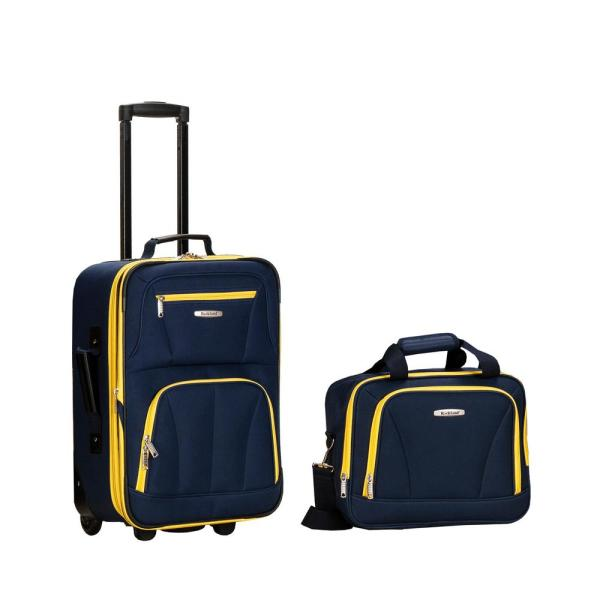 Rockland Rio Expandable 2-Piece Carry On Softside Luggage Set, Navy