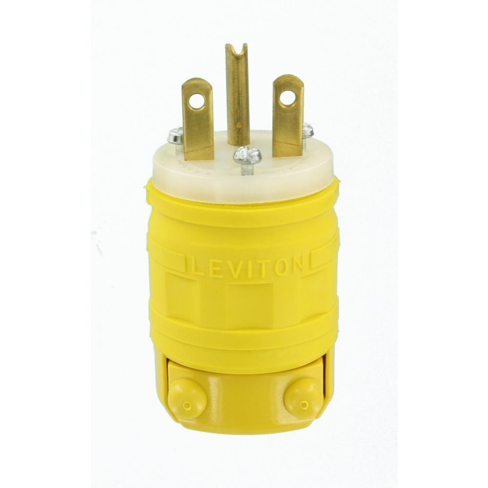 15 Amp 250-Volt Dustguard Industrial Grade Grounding Plug, Yellow