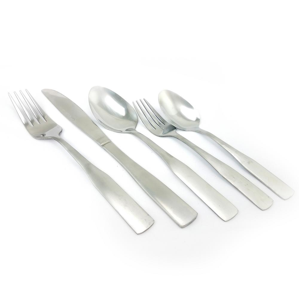 Abbeville 61-Piece Stainless Steel Flatware Set with Wire Caddy