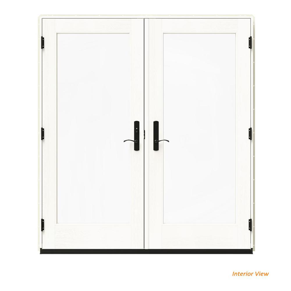 W 4500 Vanilla Clad Wood Right Hand Full Lite French Patio Door White Paint Interior