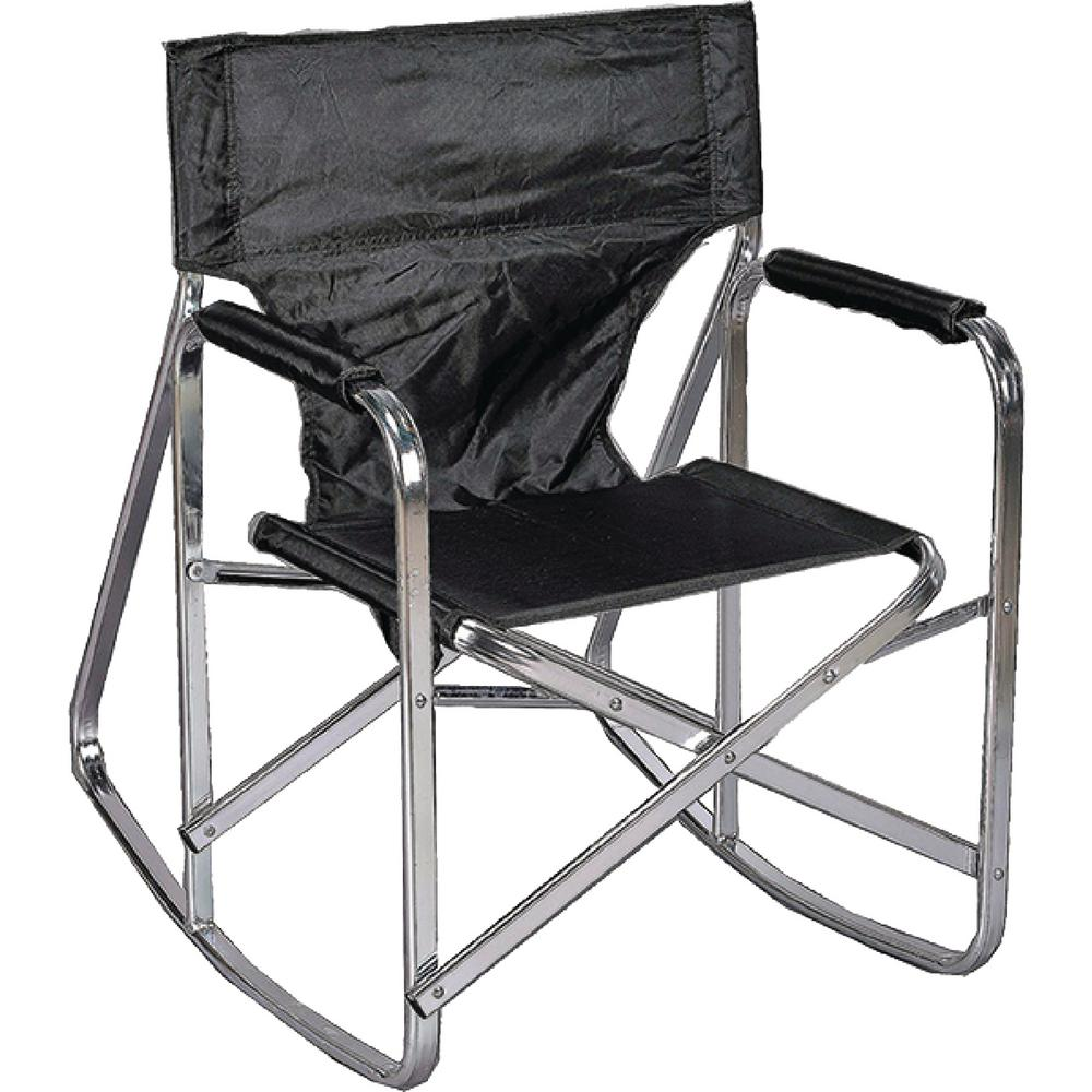 Stylish Camping Black Full Back Folding Rocking Director S Chair