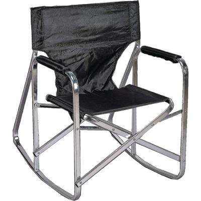 Stylish Camping Black Full Back Folding Rocking Director's Chair