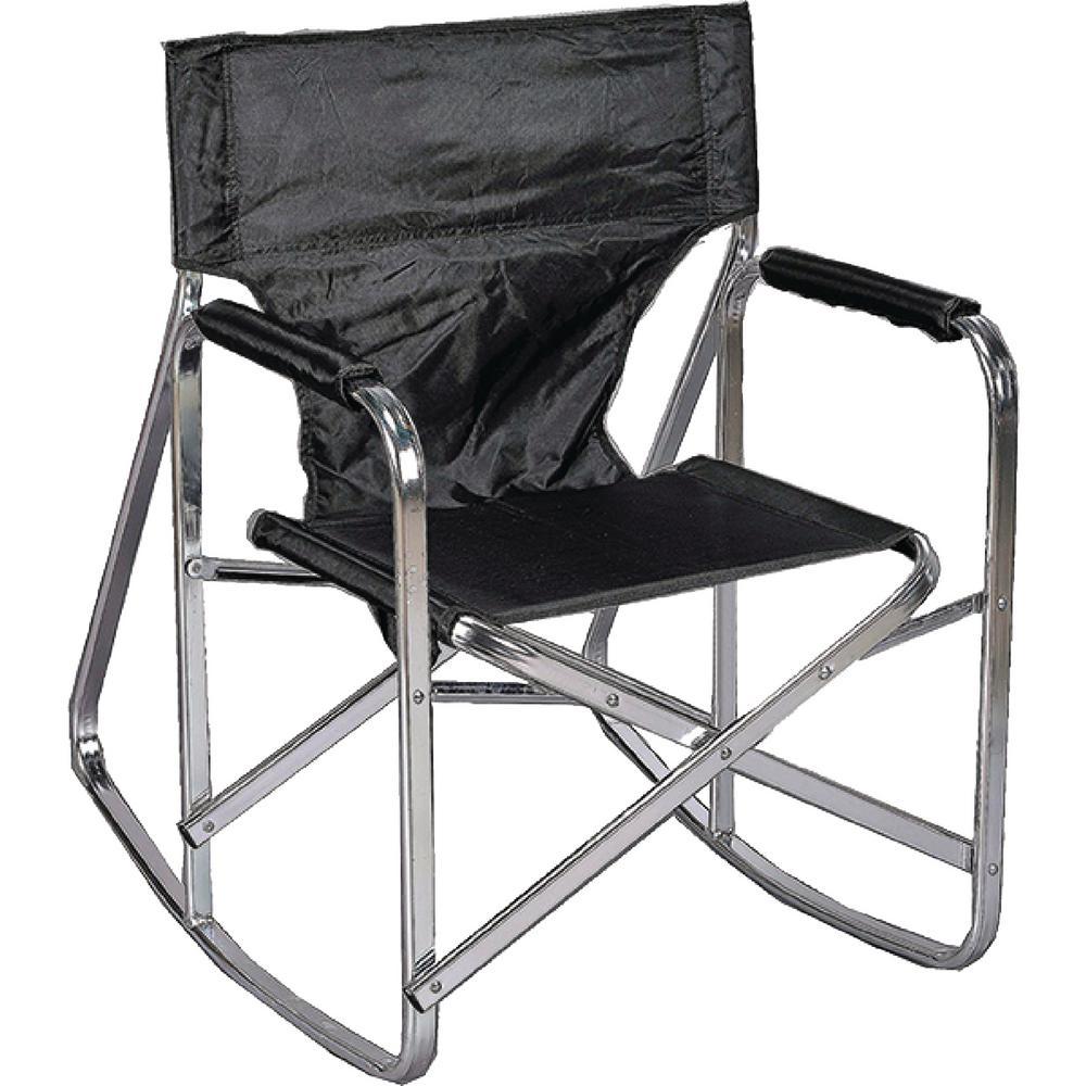 Stylish Camping Black Full Back Folding Rocking Director's Chair