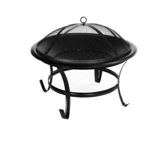 22 in. x 18.5 in. H Round Steel Wood Fire Pit with Screen Cover, Log Grate, Poker