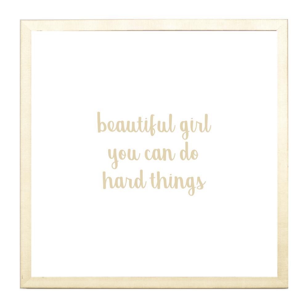 Beautiful Girl Hard Things, GOLD FRAME, Magnetic Memo Board