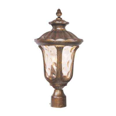 3-Light Outdoor Moroccan Gold Incandescent Post Lantern