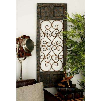 20 in. x 57 in. New Traditional Wainscot and Heart Scrollwork Metal Wall Panel