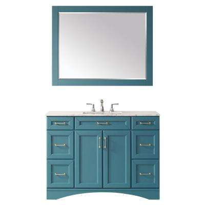"""Naples 48"""" Vanity in RoyalGreen with Carrara White Marble Countertop With Mirror"""