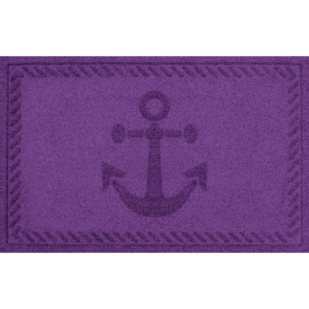 Aqua Shield Purple 24 in. x 36 in. Ships Anchor Polypropylene Door Mat