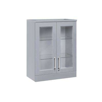 Home Bar Gray Short Wall Shaker Style Bar Cabinet
