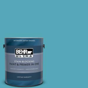 Behr Ultra 1 Gal T15 11 Sonic Blue Satin Enamel Interior Paint And Primer In One 775401 The Home Depot