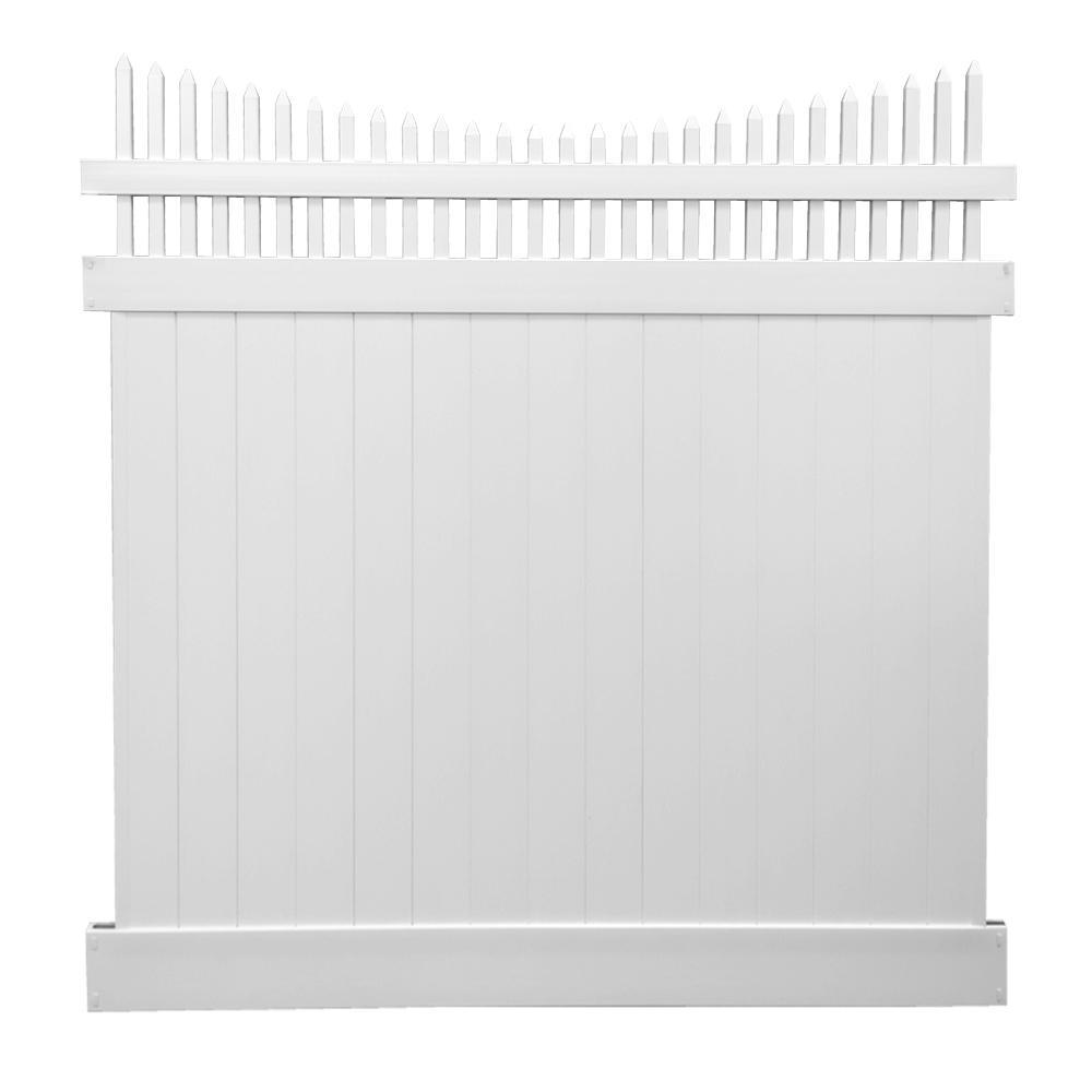 Halifax 7 ft. H x 6 ft. W White Vinyl Privacy Fence Panel Kit