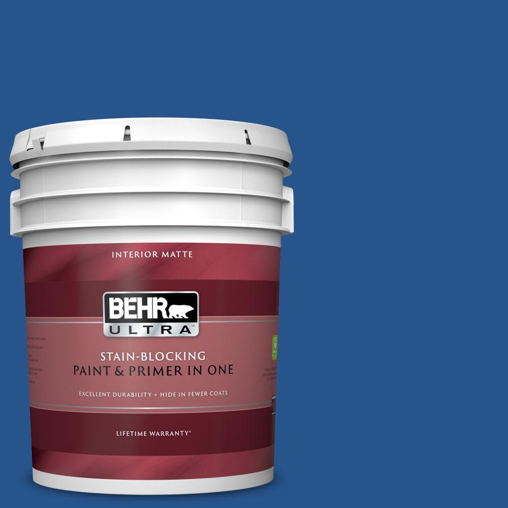 5 gal. #PPU15-03 Dark Cobalt Blue Matte Interior Paint and Primer in One