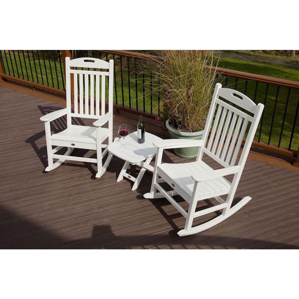 Trex Outdoor Furniture Yacht Club Classic White 3-Piece Patio Rocker Set - Trex Outdoor Furniture Yacht Club Classic White 3-Piece Patio Rocker