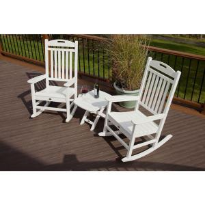 white chairs sets outdoor furniture for small spaces | Trex Outdoor Furniture Yacht Club Classic White 3-Piece ...