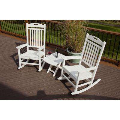 Yacht Club Classic White 3-Piece Patio Rocker Set