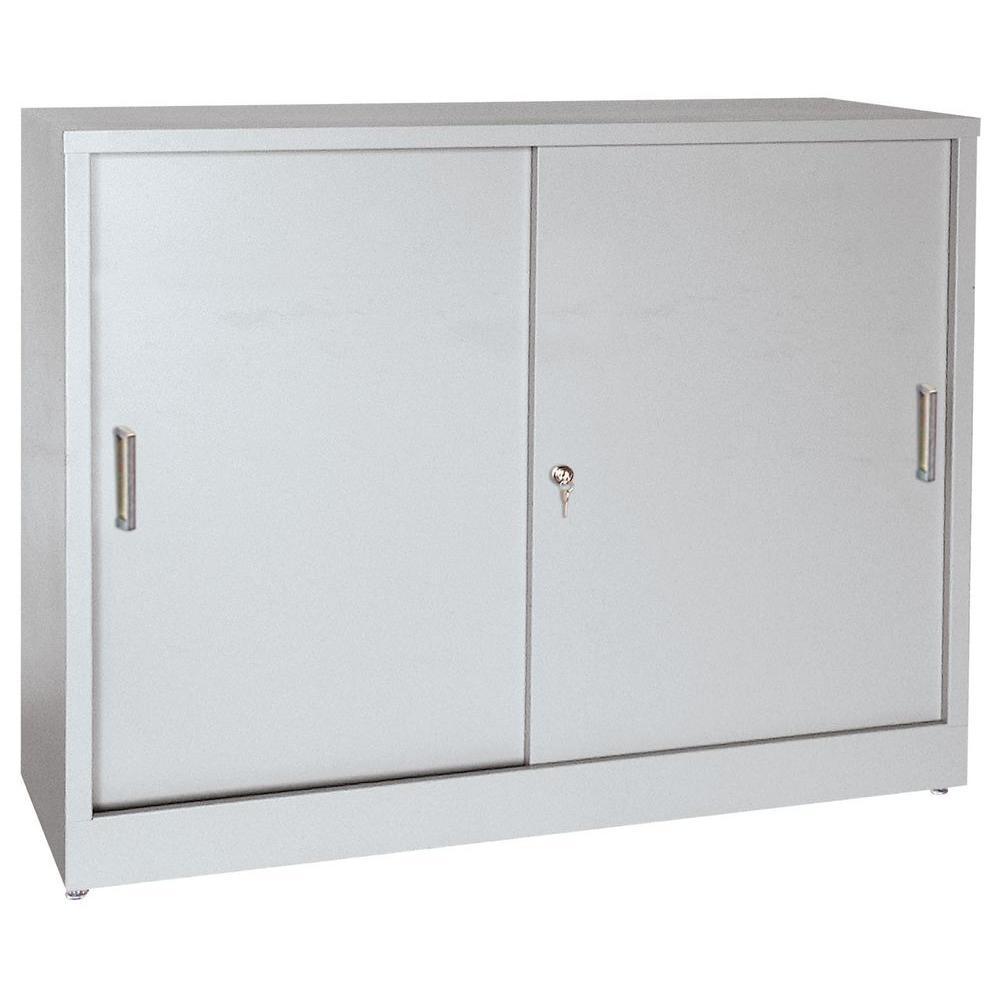 Elite Series 42 in. H x 36 in.W x 18 in. D Steel Freestanding Storage Cabinet with Sliding Door in Dove Gray