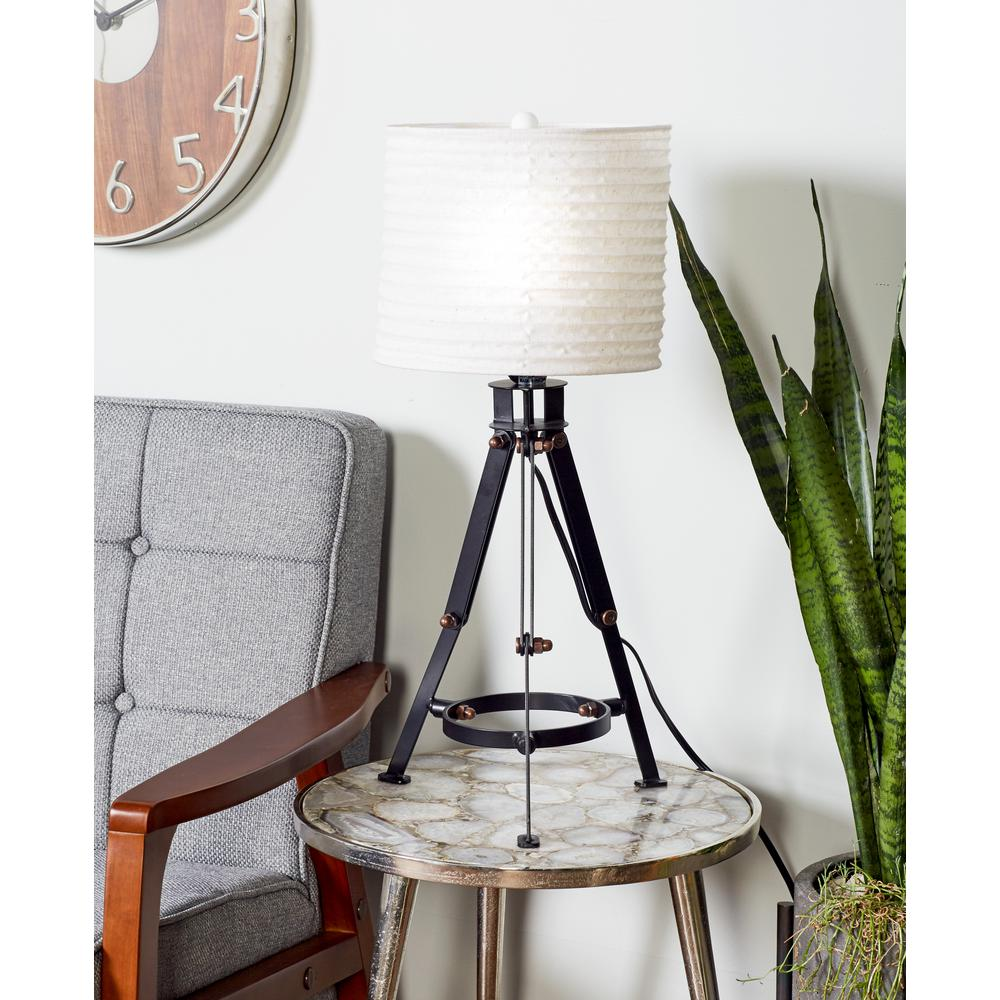Black Tripod Table Lamp With White Drum Shade