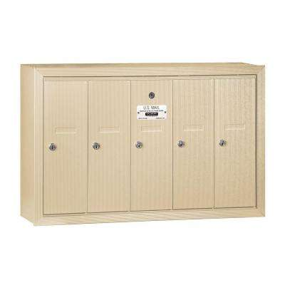 3500 Series Sandstone Surface-Mounted Private Vertical Mailbox with 5 Doors
