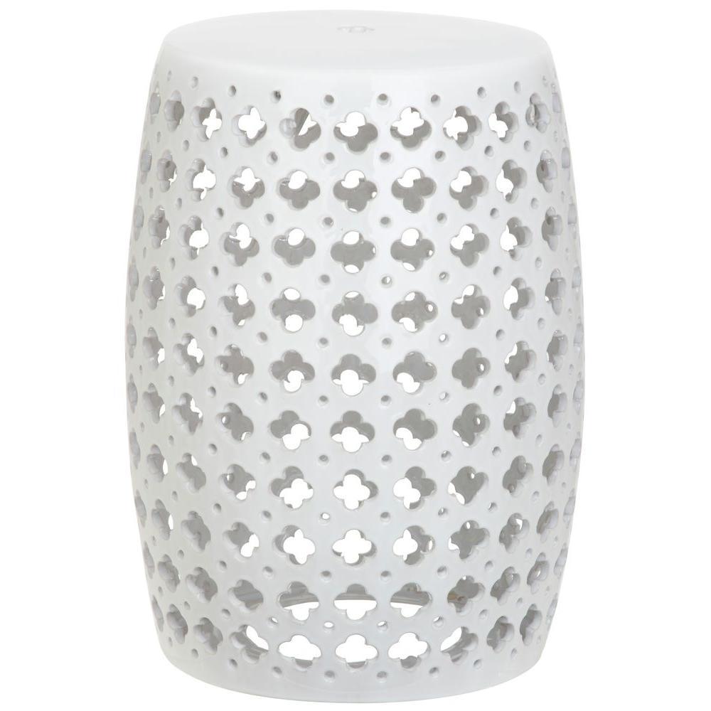 Lacey White Ceramic Garden Stool