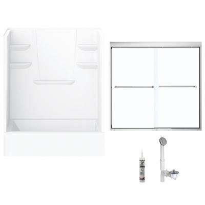 60 in. x 32 in. x 82 in. Bath and Shower Kit with Right-Hand Drain and Door in White and Chrome Hardware