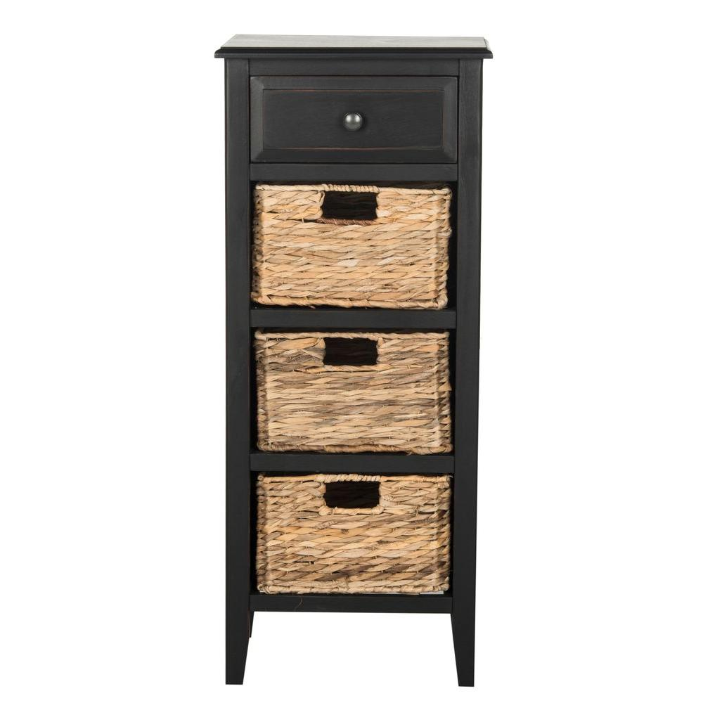 Safavieh michaela distressed black storage side table for Large side table with drawers