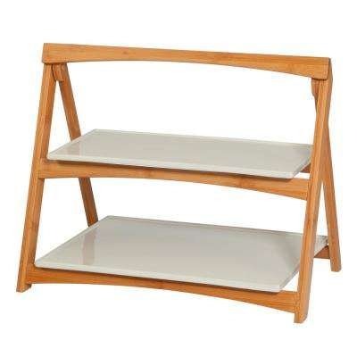 CreativeWare 2-Tiered 'TableStyles' Bamboo and Stoneware Folding Ladder Server
