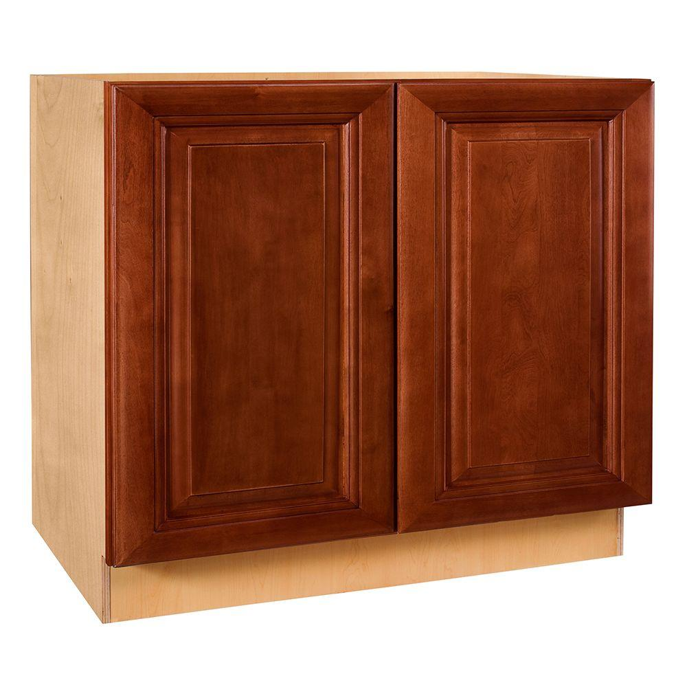 Home Decorators Collection Lyndhurst Assembled 30x34.5x24 in. Double Door Base Kitchen Cabinet in Cabernet