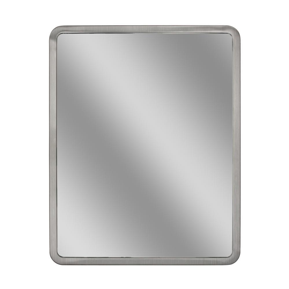 24 in. W x 30 in. H Radius Corner Brush Nickel Metal Framed Wall Mirror