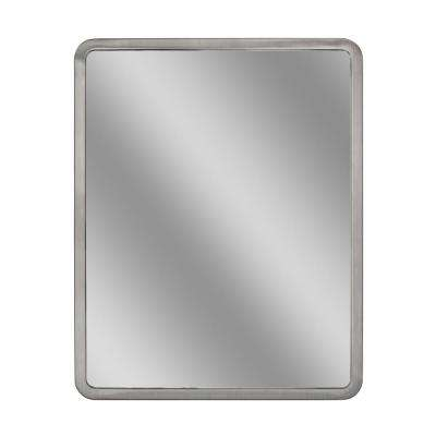 24 in. W x 30 in. H Radius Corner Brush Nickel Metal Framed Wall Mirror