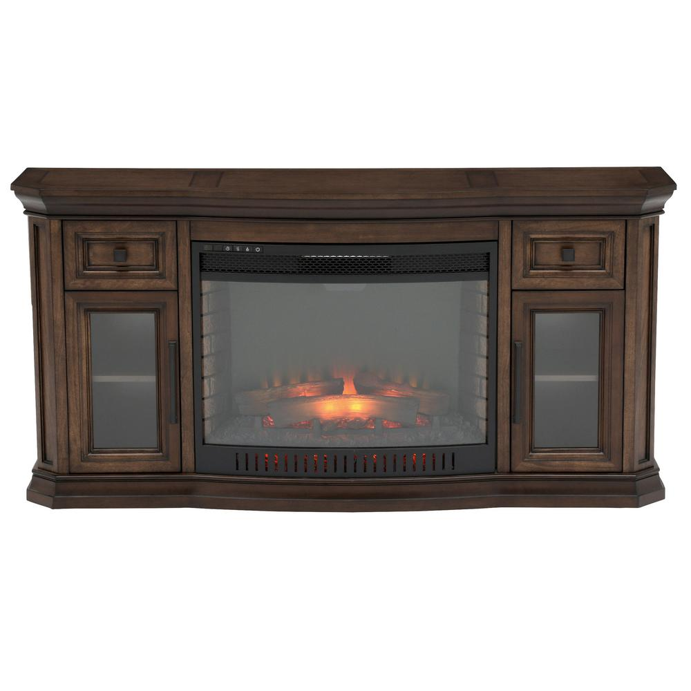 Home Decorators Collection Georgian Hills 65 in. Bow Front TV Stand Infrared Electric Fireplace in Oak